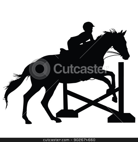 Horse Jumping Silhouette stock vector clipart, Silhouette of a child or young adult jumping a horse  by Maria Bell