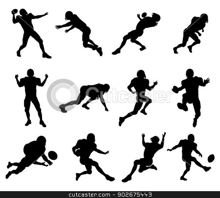 American football player silhouettes stock vector clipart, A set of highly detailed high quality American football player silhouettes by Christos Georghiou