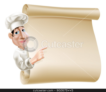 Chef scroll menu illustration stock vector clipart, Illustration of a cartoon chef pointing at a scroll or banner perhaps a menu by Christos Georghiou