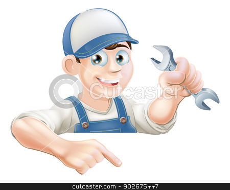 Cartoon mechanic peeking over sign stock vector clipart, A cartoon plumber or mechanic with a wrench peeking over sign or banner and pointing at it by Christos Georghiou
