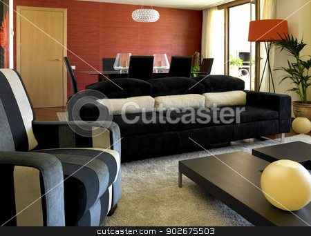 Living Room stock photo, Home Living Room set with decoration elements by ABBPhoto