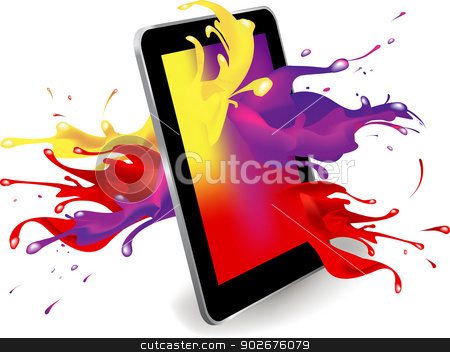 Digital tablet color stock vector clipart, Magical colour splash from tablet computer conceptual vector design .This image contains a gradient mesh. by monicaodo