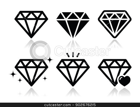 Diamond vector icons set stock vector clipart, Jewelery, diamond black icons set with reflection isolated on white by Agnieszka Murphy