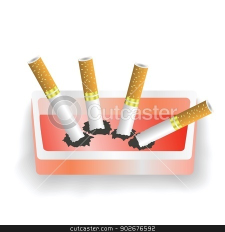 ashtray and cigarettes stock vector clipart, colorful illustration with ashtray and cigarettes for your design by valeo5