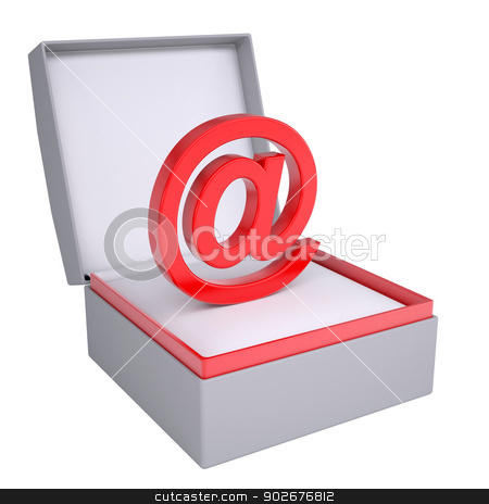 Email sign in open gift box stock photo, Email sign in open gift box. 3d render isolated on white background by cherezoff