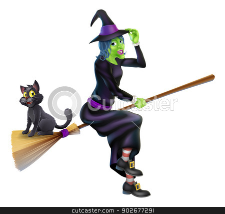 Halloween Witch on Broomstick with Cat stock vector clipart, An illustration of a Halloween Witch with her black cat flying on her magic Broomstick by Christos Georghiou