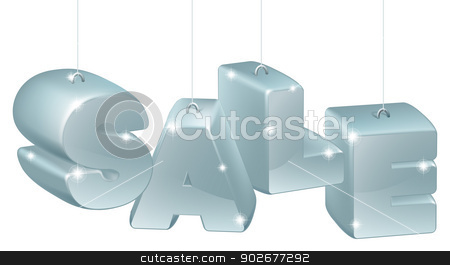 SALE decorations stock vector clipart, Silver Christmas, New Year or other decorations spelling out the word sale by Christos Georghiou