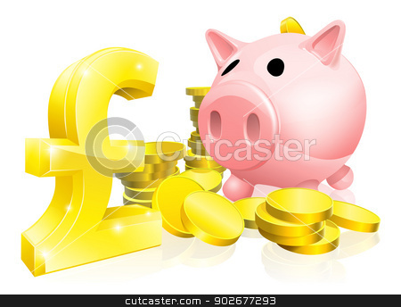 Pound sign piggy bank stock vector clipart, Illustration of a pink piggy bank with lots of gold coins and a big pound sign or symbol by Christos Georghiou