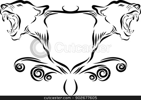 Lion Head Emblem stock vector clipart, Vector line art illustration of a lion emblem by Donovan van Staden