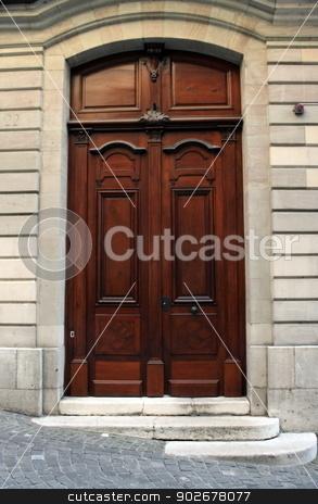 Old wooden door, Geneva, Switzerland stock photo, Wooden door and stairs in old city, Geneva, Switzerland by Elenarts
