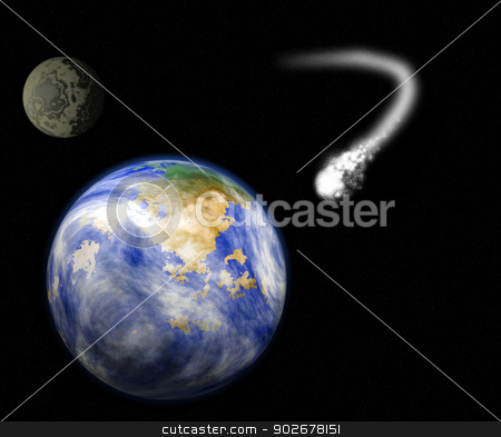comet heading for earth stock photo, illustration showing a comet heading and about to strike planet earth with moon in the background. by patrimonio