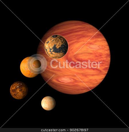 Jupiter with moons europa, callisto,ganymede,io stock photo, illustration of planet Jupiter with moons europa, callisto,ganymede,io on isolated background by patrimonio