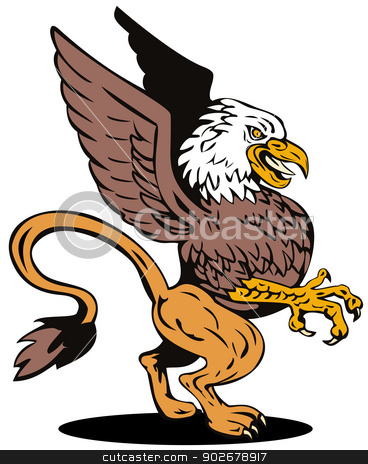 Griffin Lion Fighting stock vector clipart, Illustration of griffin lion vulture fighting side view set in white background done in retro style.  by patrimonio