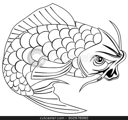 Koi Carp Fish Jumping Line Drawing stock vector clipart, Line Drawing of a koi carp fish jumping. by patrimonio