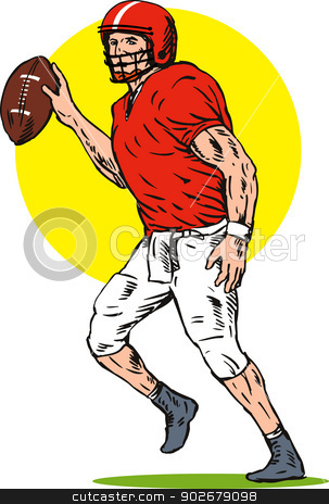 Football Player Pass stock vector clipart, Illustration of football player pass front view done in retro style.  by patrimonio