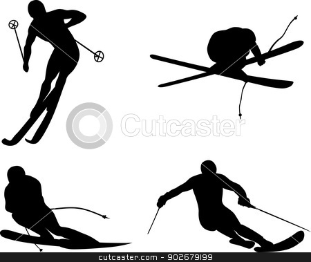 Skiing Silhouette stock vector clipart, Illustration of person skiing silhouette done in retro style. Illustration of person skiing silhouette done in retro style.  by patrimonio