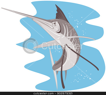 Sailfish Fish Jumping Retro stock vector