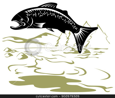 Salmon Fish Jumping Retro stock vector clipart, Illustration of a salmon fish jumping with mountains in the background done in retro style. by patrimonio