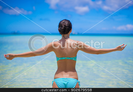 Back view of beautiful girl in swimsuit walking like a bird stock photo, Back view of beautiful girl in swimsuit walking like a bird by Dmitry Travnikov