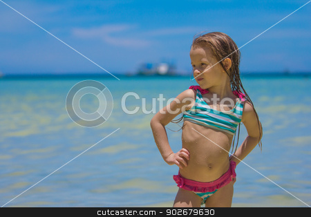 Beautiful little girl standing in water at the beach stock photo, Beautiful little girl standing in water at the beach by Dmitry Travnikov