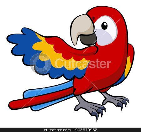Red parrot illustration stock vector clipart, Illustration of a happy red cartoon parrot pointing with his wing by Christos Georghiou