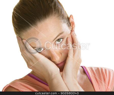 Sad Faced Woman stock photo, Sorry looking woman with face in hands over white by Scott Griessel