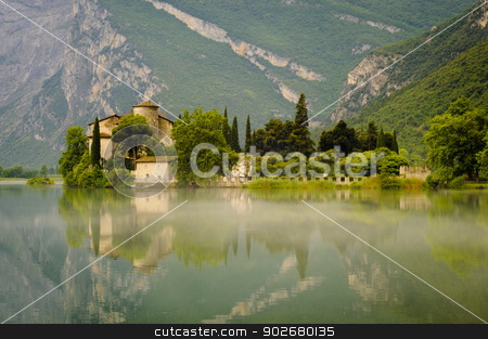 Medieval Castle on Toblino Lake, Trentino, Italy stock photo, The Medieval Castle Toblino reflecting in the calm waters of Toblino Lake. Trentino, Italy by Alessandro Rizzolli
