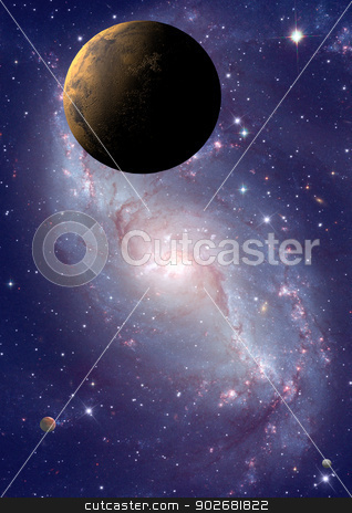 Far-out planets in a space. stock photo, Far-out planets in a space against stars.  by Anatolii Vasilev