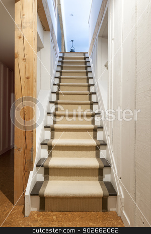Basement stairs in house stock photo, Stairway to basement in home interior with wood paneling by Elena Elisseeva