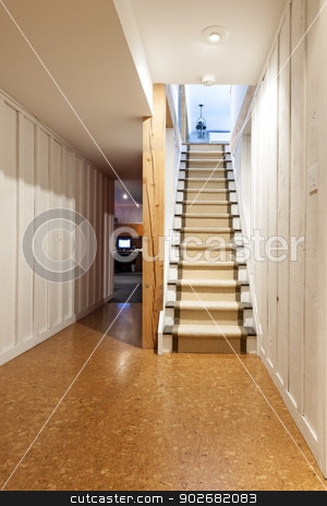 Basement and stairs in house stock photo, Stairway to finished basement in home interior with wood paneling and cork flooring by Elena Elisseeva