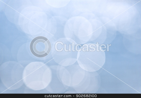 Blue bokeh background stock photo, Abstract defocused background in blue and white by Elena Elisseeva