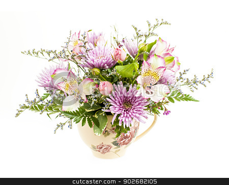 Flower arrangement on white stock photo, Bouquet of colorful flowers arranged in small vase isolated on white background by Elena Elisseeva