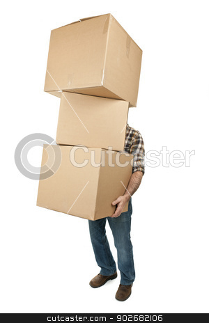 Man carrying stack of cardboard boxes stock photo, Man lifting stack of cardboard moving boxes isolated on white by Elena Elisseeva
