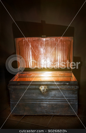 Old open chest glowing inside stock photo, Antique wooden chest with open lid and light inside by Elena Elisseeva