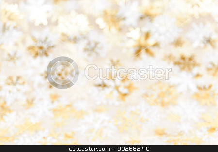 Christmas background with gold snowflakes stock photo, Golden abstract blurred Christmas background with snowflakes by Elena Elisseeva
