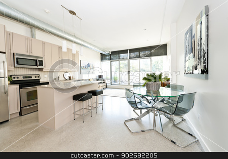 Modern condo kitchen dining and living room stock photo, Kitchen, dining and living room of apartment - artwork from photographer portfolio by Elena Elisseeva