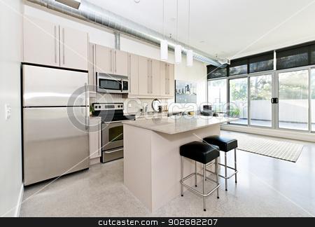 Modern condo kitchen and living room stock photo, Kitchen and living room of loft apartment - artwork from photographer portfolio by Elena Elisseeva