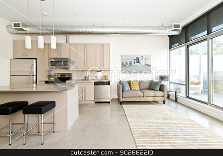 Modern condo kitchen and living room stock photo, Kitchen and living room of loft apartment - artwork from photographer portfolio by Elena Elisseeva