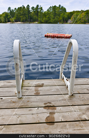 Footprints on dock at summer lake stock photo, Wet footprints on dock with ladder and diving platform at lake in Ontario Canada by Elena Elisseeva