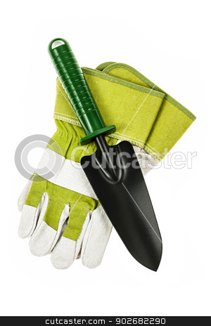 Gardening tools stock photo, Gardening gloves and trowel isolated on white background by Elena Elisseeva