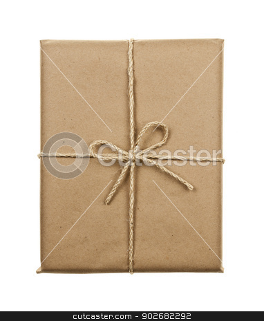 Gift in brown paper tied with string stock photo, Gift package in brown paper wrapper tied with twine isolated on white background by Elena Elisseeva