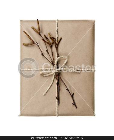 Plain gift with natural decorations stock photo, Simple gift package in brown paper decorated with birth branches isolated on white background by Elena Elisseeva
