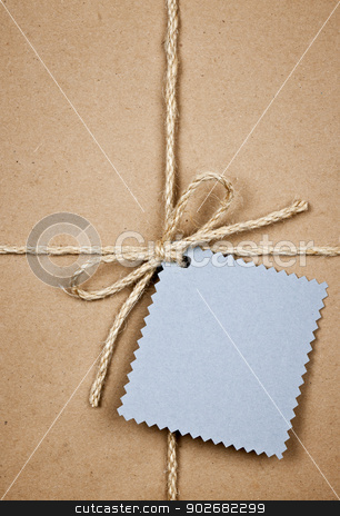 Gift with blue card in brown paper stock photo, Gift package and blue tag in brown paper wrapper tied with string close up by Elena Elisseeva