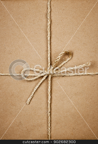 Package in brown paper tied with string stock photo, Gift package wrapped in brown paper tied with twine closeup by Elena Elisseeva