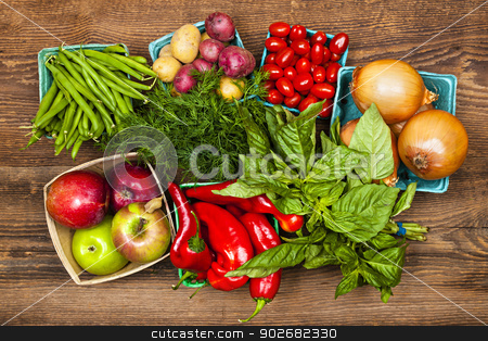 Market fruits and vegetables stock photo, Fresh farmers market fruit and vegetable produce from above by Elena Elisseeva