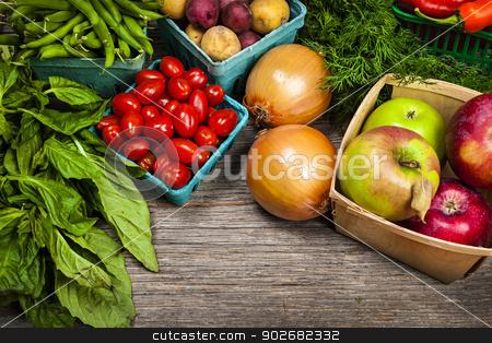 Fresh market fruits and vegetables stock photo, Fresh farmers market fruit and vegetable on display by Elena Elisseeva