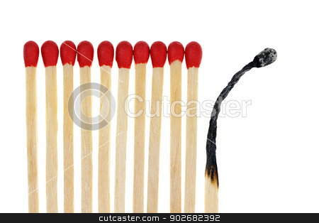 Matches with one burned out stock photo, Wooden matches with one burned out isolated on white background by Elena Elisseeva