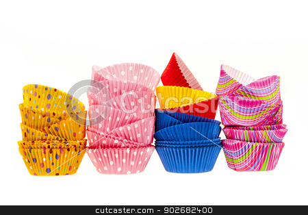 Muffin baking cups stock photo, Several stacks of colorful muffin or cupcake cups isolated on white background by Elena Elisseeva