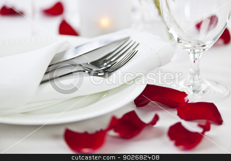 Romantic dinner setting with rose petals stock photo, Romantic table setting with rose petals plates and cutlery by Elena Elisseeva