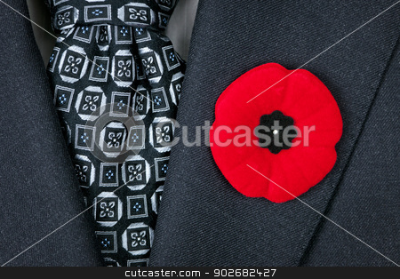 Remembrance Day poppy on suit stock photo, Red poppy lapel pin on suit jacket for Remembrance Day by Elena Elisseeva